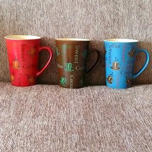 3 mugs- coffee themed